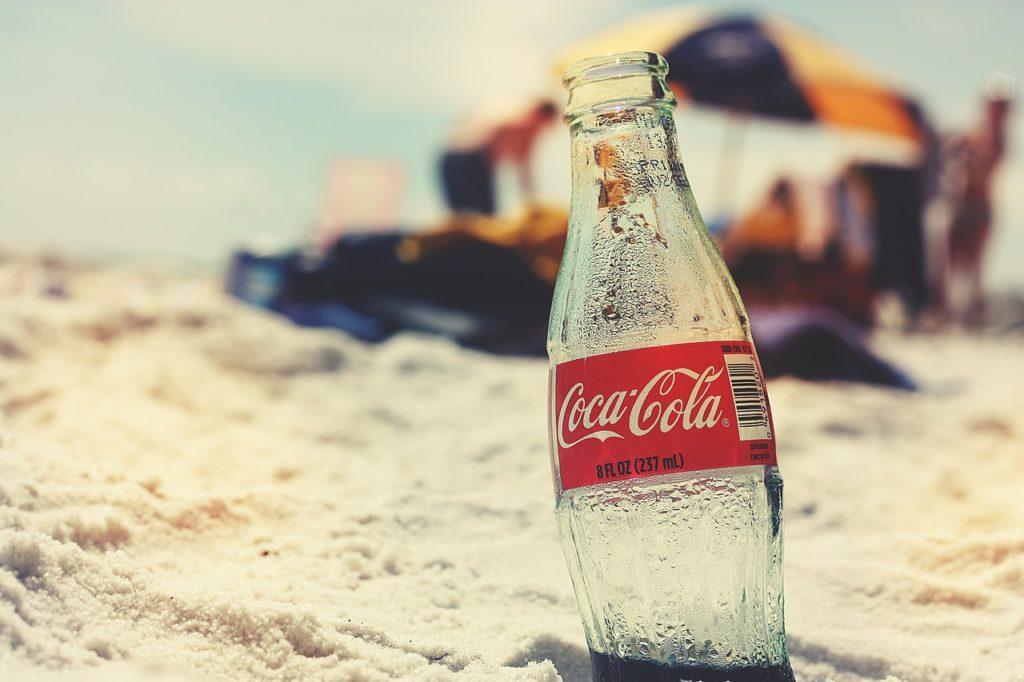 coca cola, bottle, beach