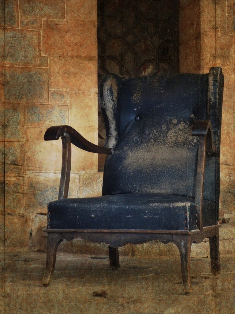 armchair, seat, abandoned